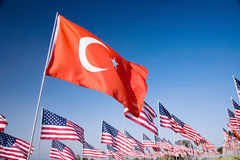 Turkish flag among the 3000 Royalty Free Stock Photography