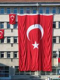 Turkish flag. Large Turkish on a building in Elazig Stock Image