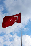 Turkish flag against the background of summer sky. Turkish flag against the background of summer Stock Photo