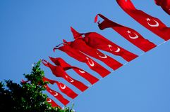 Turkish flag against the blue sky royalty free stock photo