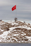Turkish flag at Akdamar Island Royalty Free Stock Image