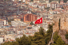 Turkish Flag Alanya Stock Photo