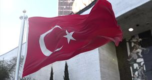 Turkish flag. Amazing loopable Turkish flag is waving on slow motion stock video footage