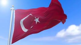 Turkish flag. Amazing loopable Turkish flag is waving on slow motion stock footage