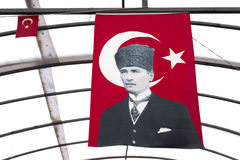 Turkish flag with Ataturk Stock Images