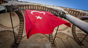 Turkish Flag at Blue Mosque in Istanbul Royalty Free Stock Image