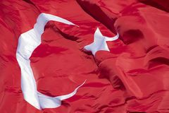 Turkish flag on blue sky background royalty free stock photography