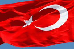 Turkish flag in blue sky Royalty Free Stock Photo