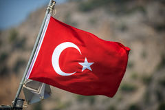 Turkish flag in a boat Royalty Free Stock Photo