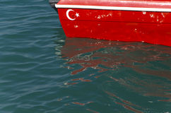 Turkish flag on boat Stock Photos