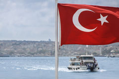 Turkish Flag Boat View Royalty Free Stock Photo