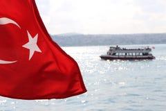 Turkish Flag in Bosphorus Istanbul, Turkey Royalty Free Stock Image