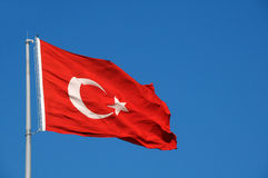 Turkish Flag in the Breeze Royalty Free Stock Photography