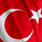 Turkish Flag Closeup Stock Images