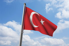 Turkish Flag with Clouds Stock Image