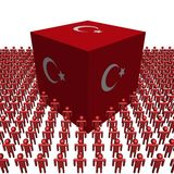 Turkish flag cube with people Royalty Free Stock Images
