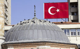 Turkish flag and a dome of mosque Royalty Free Stock Images