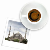 Turkish flag drawing on a cup of coffee and a photo of blue mosque Royalty Free Stock Images