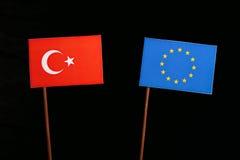 Turkish flag with European Union EU flag  on black Royalty Free Stock Images