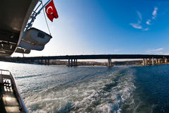Turkish Flag on Ferry Royalty Free Stock Photography