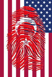 Turkish Flag Fingerprint with USA Stock Photography