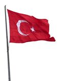 Turkish flag on flagpole waving in wind Royalty Free Stock Photography