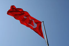 Turkish flag flies Royalty Free Stock Images