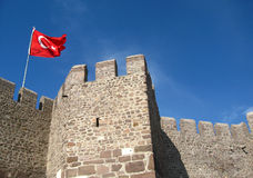Turkish flag flies on the wall of the fortress Stock Photo