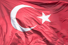 Turkish flag floating in the air Royalty Free Stock Photography