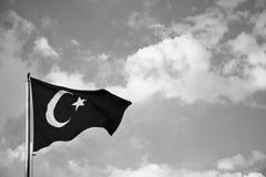 Turkish flag fluttering. On blue sky background stock images