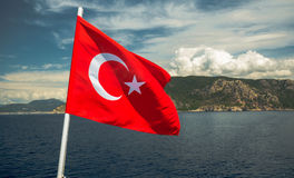 The Turkish flag flutters Royalty Free Stock Images