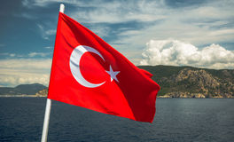The Turkish flag flutters Stock Image