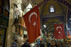Turkish flag in grand bazaar of istanbul, turkey Stock Photography