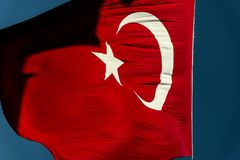 Turkish flag background texture. Stock Photography