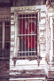 Turkish Flag Hung from Istanbul Apartment Window Stock Photos