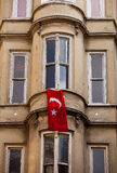 Turkish Flag Hung from Istanbul Window Stock Photography