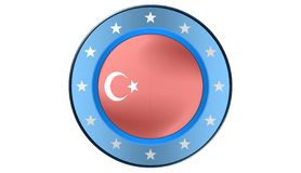 Turkish flag,illustration. Turkish flag, as a button, most illustrations Royalty Free Stock Images