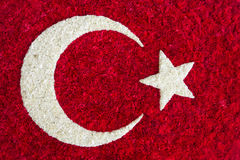 Turkish Flag made of flowers Royalty Free Stock Photo