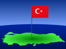 Turkish flag on map Stock Photo