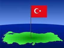 Turkish flag on map. Map of Turkey and Turkish flag on pole illustration Stock Photo