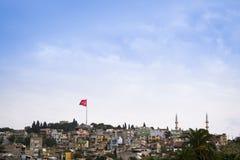Turkish flag and minarets. Royalty Free Stock Photo