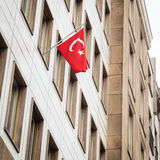Turkish flag outside the Consulate of Turkey Stock Image