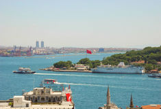Turkish flag over Istanbul. Stock Images