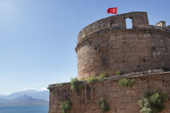 Turkish flag over the old tower Royalty Free Stock Images