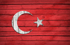 Turkish flag painted on wooden boards Stock Image