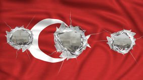 Turkish flag perforated. Turkish flag with bullet holes war scenery royalty free stock photos