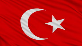 Turkish flag. With real structure of a fabric stock video