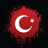 Turkish Flag In Red Spatter. Vector illustration of the turkish flag in red spatter Royalty Free Stock Photo