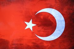 Turkish flag. Turkish red flag with white star and moon. National flag of Turkey. Turkish symbol Royalty Free Stock Photo