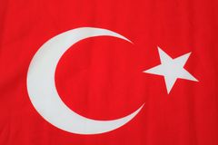 Turkish flag. Turkish red flag with white star and moon. National flag of Turkey. Turkish symbol royalty free stock images